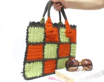 Crochet bag, Handmade bag, Crochet purse, Orange, Checkered, Midi crochet bag, Handmade purse, Mini crochet bag, Autum Winter, cheap sale