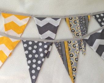 FABRIC PENNANT BANNER / pennant fabric flag banner / fabric garland / birthday banner / baby shower / gray yellow chevron / 9 feet