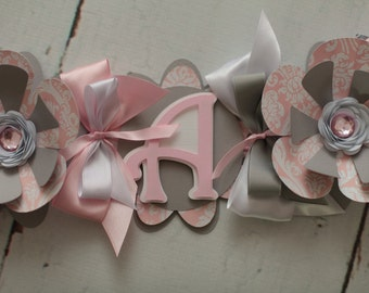 It's a Girl Baby Shower Banner Light Pink, white, grey, Flower,Damask