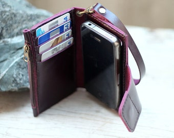 iPhone4/ Magnetic/ Purple leather iPhone wallet with case and mini zip/ wristlet strap