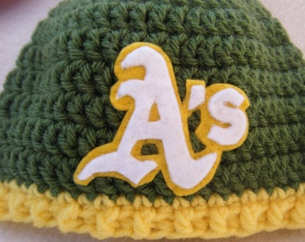Crocheted Baseball Hats Oakland Inspired Team Colors (You Can Choose Any Team) - Made to Order