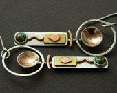 Mixed metal jewelry- mixed metal earrings, tribal earrings with mokume and turquoise