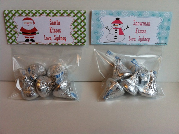 ... Snowman Kisses or Santa Kisses Treat Bag Topper - Printable File on