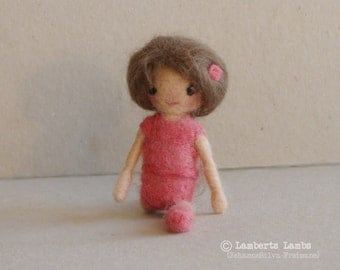 Needle Felted  Ballerina Doll, handmade leotard doll,