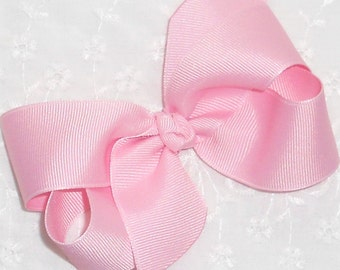 "Pink Hair Bow Light Pink Bow Pink Easter Bow Pink Baby Bow Pink Valentine Bow Girls Bow Medium 4"" Boutique Hair Bow-Newborn Infant Toddler"