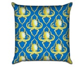 """Blue Ring Octopus Quarterfoil - Original Pattern Sofa Throw Pillow Envelope Cover for 18"""" inserts"""