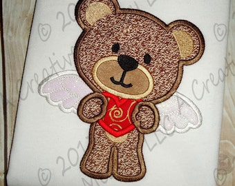 Valentines Cupid Bear  Applique EMBROIDERY DESIGN