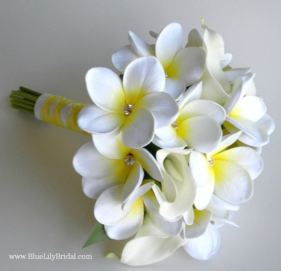 White Plumeria Bridal Bouquet OR Bridesmaid Bouquet Made Of