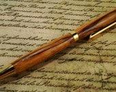 Marblewood Pen - Slimline Style with Gold Finish