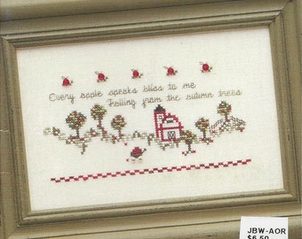"""Clearance - """"Apple Orchard"""" Counted Cross Stitch Chart by JBW Designs & Embellishments"""