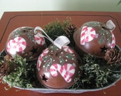 Bells, Tub, Christmas, Peppermint candy, OOAK, handpainted
