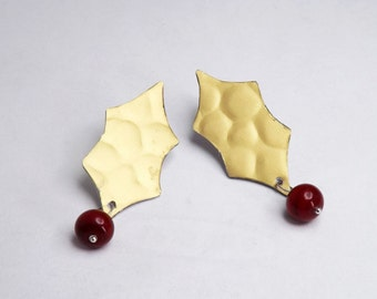golden stud with red handblown lampwork glass beads