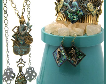 Exquisite Handcrafted Ocean Theme Necklace, Cuff Bracelet & Pierced Earrings Set. Mermaid, Seahorse, Dreaming of the Sea - Starfish, Unique