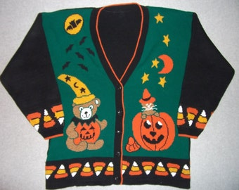 Trick or Treat All Hallows Eve Haunted Halloween Sweater Tacky Gaudy Ugly Christmas Party X-Mas Candy Corn Pumpkin XL Extra Large XXL 2X