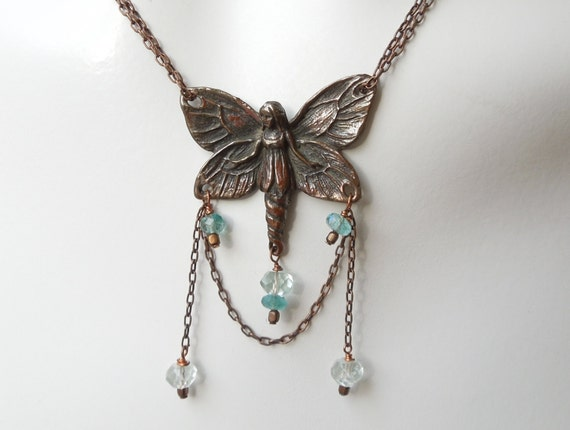 Butterfly Fairy Necklace - Copper Chain- Aquamarine and Apatite Beads