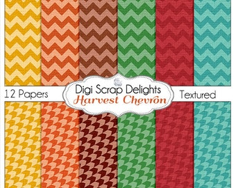 Autumn Chevron Digital Papers for Digital Scrapbooking, Fall Card Making, Crafts, Web Design Linen Textured, Instant Download