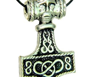 Thor's Hammer Necklace Pewter Pendant Viking Mjollnir Norse 1876B