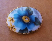 blue and yellow floral cabochon vintage oval brooch--prairie girl