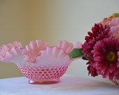 Vintage Fenton Hobnail  opalescent bowl crimped ruffle glass in pink and white very pretty!