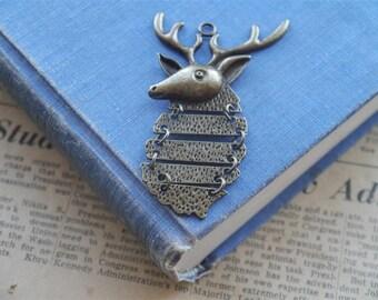 LARGE Moving Deer Antler Antique Bronze Pendant Charms 65mm (BC991)