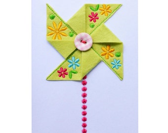 In-the-Hoop Project! Flower Felt Pinwheel Machine Embroidery Design ITH012