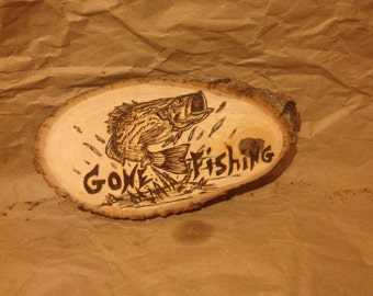 Gone fishing woodburning sign/ rustic signs/ fishing signs/ cabin decor/ cabin signs