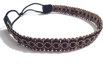 Black and Dark Gold Decorative Headband