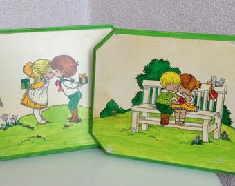Kitsch playful Kids painted NEON colors on wood panel  set of two 1960s by Mabelyn Williams