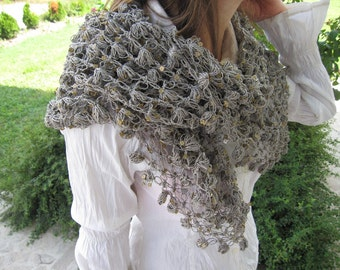 Women's knitted shawl scarf - Grayish taupe Gold sequin Sparkle /Crochet handmade Turkish Turkey scarf - woman fashion evening gown scarf