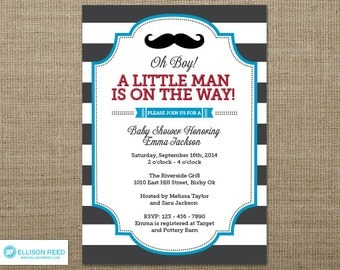 Mustache Baby Shower Invitation - Little Man Invitation - Mustache Invitation - Little Man Baby Shower invitation - Mustache Printable - Boy