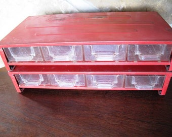 Red Metal Stacking Bins, Set of Two, Total of 8 plastic Drawers, Small Storage, Beads, Craft Storage, Findings, Tool Box, Jewelry Box
