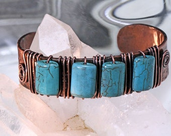 Turquoise and Copper Cuff Bracelet