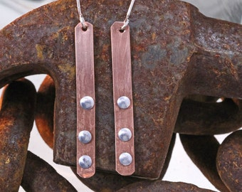 Copper Dangle Earrings with Aluminum Rivets