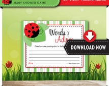 Ladybug Baby Shower Games, ADVICE CARDS, Printable Cute as a Bug theme, Red, Many Unique Games available, Instant Download, Print Now