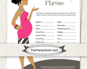 INSTANT DOWNLOAD Finish Mommy's Phrase Baby Shower Game: Printable DIY ...