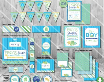 Frogs Snails and Puppy Dog Tails Baby Shower Party Pack | Printable Boy Decor | Invitation and Games Available | Instant Download