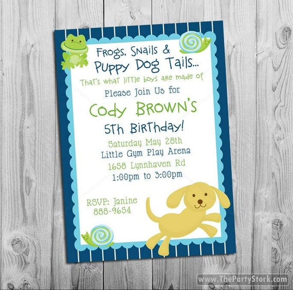 Frogs Snails And Puppy Dog Tails Birthday Invitations