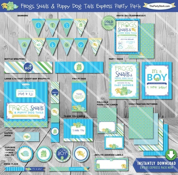 Snail Shower Design Ideas: Frogs Snails And Puppy Dog Tails Baby Shower Party Pack