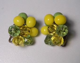 Here Comes Spring Vibrant Yellow Lemon-Lime Earrings, Classic Beads, Vintage