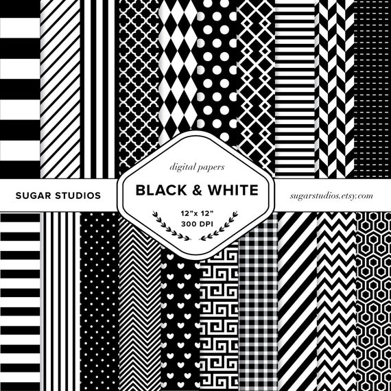 Black and White 20 Piece Digital Scrapbook Paper Mega Pack - Personal and Commercial Use - INSTANT DOWNLOAD