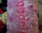 Personalized Pink Furry Swirl Fleece Padded Baby Carrier Handle, Infant Car Seat Arm Handle Pad