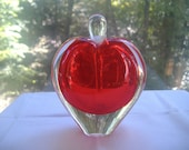 Hand Blown Crystal Glass Red Heart Perfume Cologne Bottle and Dauber
