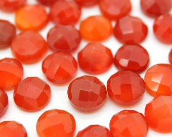 GCF-1277 - Red Onyx Faceted Cabochon - 10mm Round - Gemstone Cabochon - 1 Pc