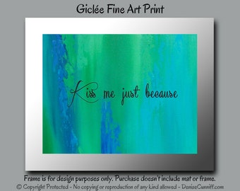 Teal art, Teal decor, Master bedroom art, Master bedroom decor,Kiss Me,Master bathroom,Romantic gift,Abstract art print,Blue and green decor
