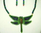 Dragonfly Necklace & Beaded Earrings Gorgeous Emerald Green and Royal Blue Necklace  Original Unique Necklaces Artisan Jewelry Gifts for Her