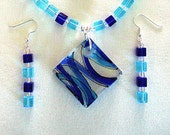 Blue Pendant Necklace & Dangle Earrings Dichroic Glass Geometric Glass Jewelry Unique Necklaces Cool Gifts for Her Birthday
