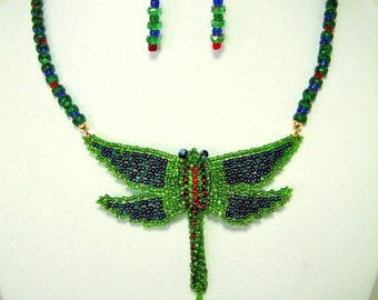 Gorgeous Green & Blue Dragonfly Necklace Original One of a Kind Handmade Jewelry Stunning Unique Necklace Gifts for Her Gift for Wife