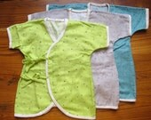 Baby Kimono / Onesie, Japanese double gauze fabric, little stars on Lime green, light gray, blue green / Newborn - 3 months