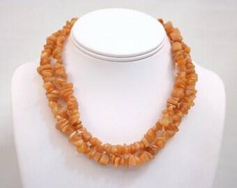 Aventurine Necklace Orange Red Peach Chip Bead Stone Necklace 36 inch FREE CLASP