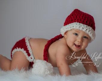 Baby Santa Hat Crochet Baby Hat Santa with Diaper Cover Christmas Baby boy baby girl